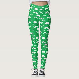 Grüne und weiße Schnurrbart-Gamaschen - St. Pattys Leggings