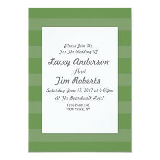 Grüne und weiße Streifen-Hochzeits-Einladung 12,7 X 17,8 Cm Einladungskarte