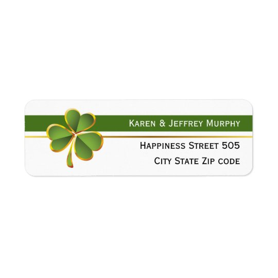 Grüne und weiße Streifen und irische Hochzeit des Rücksendeetiketten
