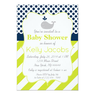 Grüne Wal-Babyparty-Einladung Karte