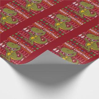Grüne Weihnachtsstrickjacke-Tier-Reihe Dino Geschenkpapier