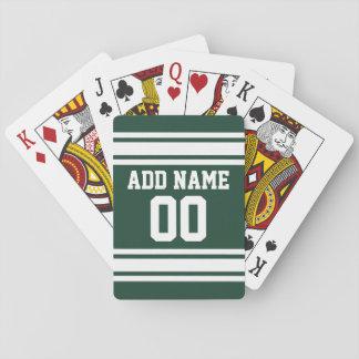 Grüne weiße Fußball-Jersey-Name-Zahl Spielkarten