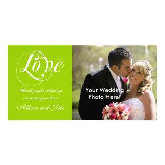 Grüne weiße Hochzeit danken Ihnen Foto-Karten-Scha Foto Karte