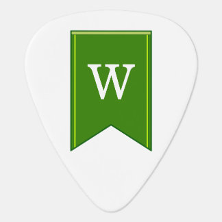 Grüne Wimpel-Fahne mit personalisierter Initiale Plektrum