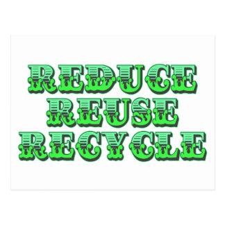 Grünen Sie verringern Wiederverwendung und Postkarte