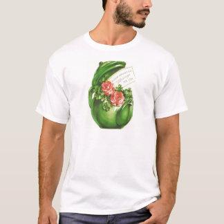 Grünen Teekanne-Rosen-Kleeblatt-St Patrick Tag T-Shirt