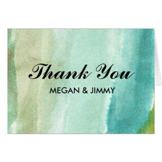 grüner abstrakter Watercolor danken Ihnen zu Karte
