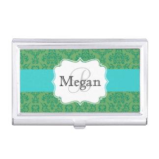 Grüner aquamariner Damastmonogramm-Kartenhalter Visitenkarten Etui