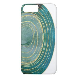 Grüner Aquarell-Achat mit Goldakzent | iPhone 8 Plus/7 Plus Hülle