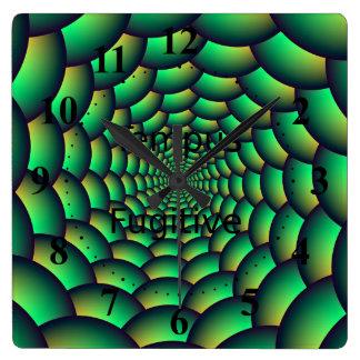 Grüner Ball-Spiralen-Tunnel Quadratische Wanduhr