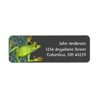 Grüner Baum-Frosch-Rücksendeadressen-Aufkleber Rücksendeetiketten