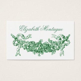 Grüner Blumenswag-Vintages Geschäft oder nennende Visitenkarte