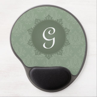 Grüner Damast mit Initiale Gel Mousepad