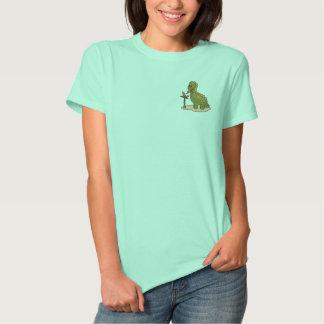 Grüner Dinosaurier Besticktes T-Shirt