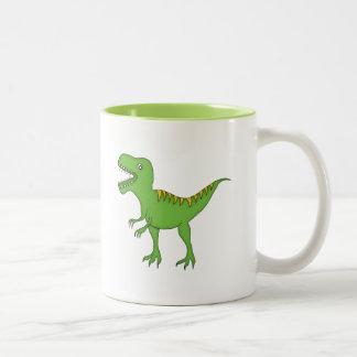 Grüner Dinosaurier+Personifizieren Sie Namen Zweifarbige Tasse