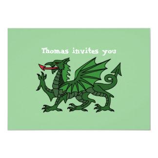 Grüner Drache-Geburtstags-Einladung Karte
