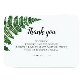 Grüner Farn danken Ihnen. Karte