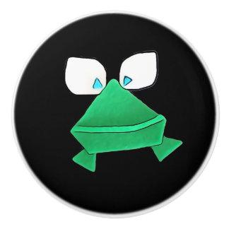 Grüner Frosch auf schwarzem Keramik-Griff Keramikknauf