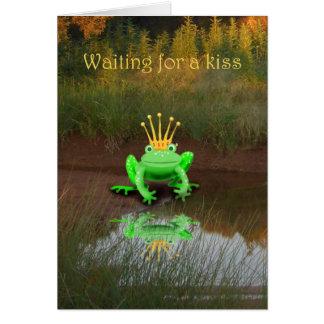 Grüner Frosch mit Krone, wartete Kuss Karte