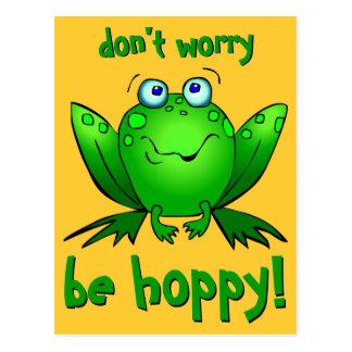 Grüner Frosch sorgen sich nicht ist hopfenreiche Postkarte