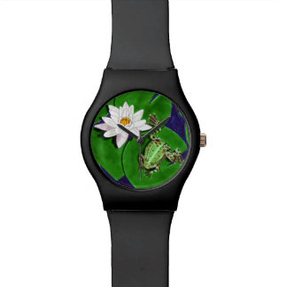 Grüner Frosch-und Wasser-Lilien-Uhr Handuhr