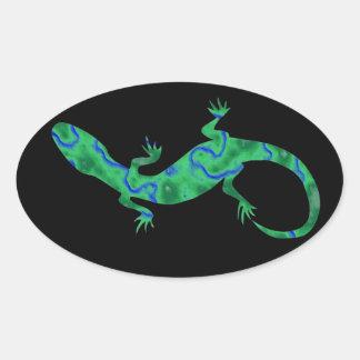 Grüner Gecko ArtDeco Ovaler Aufkleber