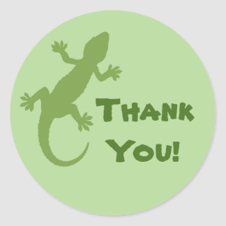 Grüner Gecko danken Ihnen Runder Aufkleber