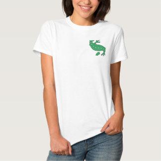 Grüner Gecko gesticktes Shirt Besticktes Polo Hemd