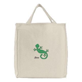 Grüner Gecko-personalisierte gestickte Tasche