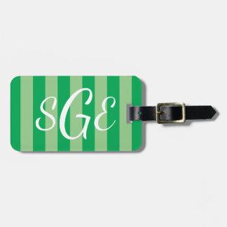 Grüner gestreifter kundenspezifischer kofferanhänger
