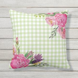 Grüner Gingham und rosa Pfingstrosen-Kissen im Zierkissen