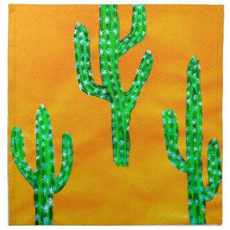Grüner Kaktus 3 Stoffserviette