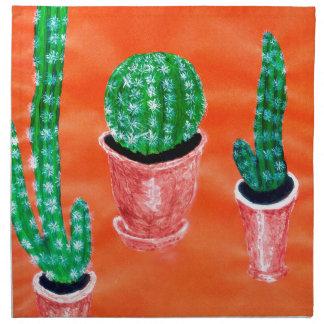 Grüner Kaktus Stoffserviette