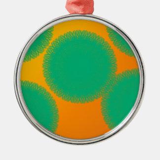 grüner Kreis in der gelblichen Orange Silbernes Ornament