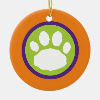 Grüner, lila und orange Tatzen-Druck Halloween Rundes Keramik Ornament