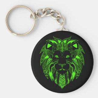 Grüner Löwe mit Hintergrund-Farbe Ihrer Wahl Standard Runder Schlüsselanhänger