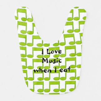 Grüner Musiknoten-Baby-Schellfisch Lätzchen