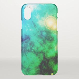 Grüner Neonraum-verbreiteter blauer Nebelfleck und iPhone X Hülle