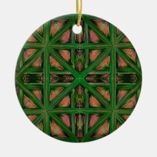 Grüner Pfirsich kariert Rundes Keramik Ornament