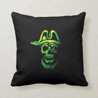 Grüner Piraten-Neonschädel Kissen