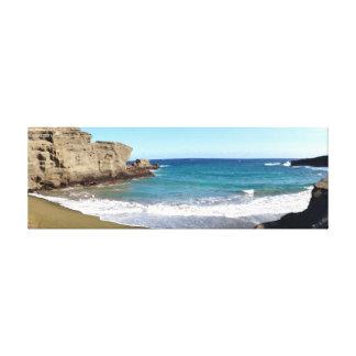 Grüner Sand-Strand Hawaii Galerie Falt Leinwand