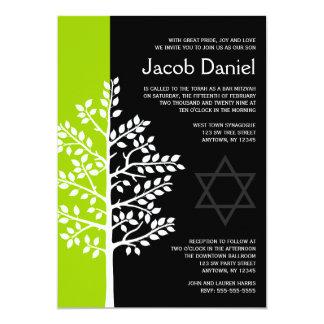 Grüner schwarzer Baum von Leben-Bar Mitzvah 12,7 X 17,8 Cm Einladungskarte