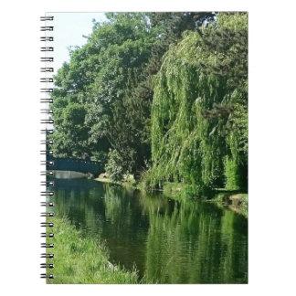 Grüner sonniger Frühlingstagesgrünbaum-Flussweg Spiral Notizblock