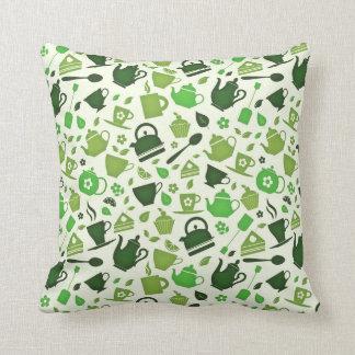 Grüner Tee-flaches Muster Kissen