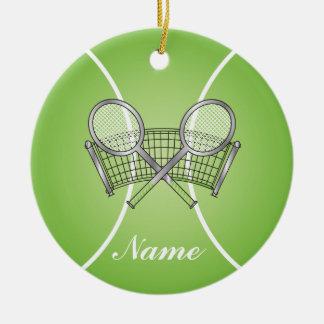 Grüner Tennisball | personifizieren Rundes Keramik Ornament