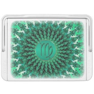 Grüner Tierkreis-Zeichen-Jungfrau-FraktalMandala Kühlbox