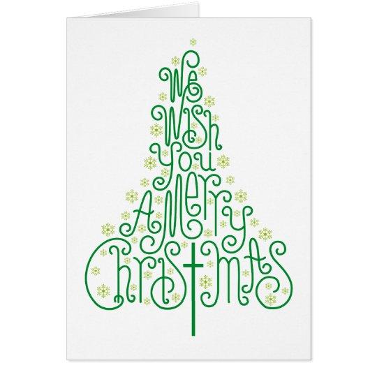 Grüner typografischer Weihnachtsbaum Grußkarte