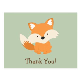 Grüner u. orange BabyFox danken Ihnen Postkarte