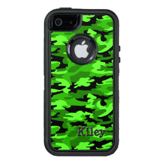 Grüner u. schwarzer Tarnungs-Neondruck OtterBox iPhone 5/5s/SE Hülle