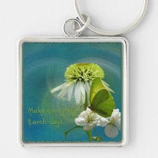 Grüner u. weißer Blumen-Blumenstrauß-Erdtag Schlüsselanhänger